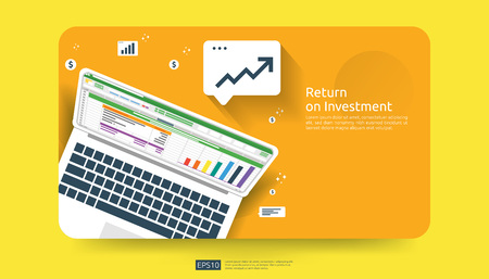 Return on investment, profit opportunity concept. business growth to success with business report on PC screen. graph chart increase and grow dollar arrows coins. business banner vector illustration