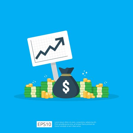 income salary dollar rate increase statistic. business profit growth margin revenue. Finance performance of return on investment ROI concept with arrow. cost sale icon flat style vector illustration. Illustration