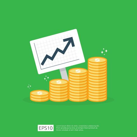 income salary dollar rate increase statistic. business profit growth margin revenue. Finance performance of return on investment ROI concept with arrow. cost sale icon flat style vector illustration. Ilustração