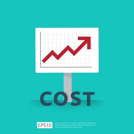 cost fee spending increase with red arrow rising up growth diagram. business cash reduction concept. investment growth progress in flat design vector illustration.