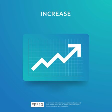 increase arrow statistic graph for business profit or salary income growth. Finance performance chart of return on investment ROI concept. flat style vector illustration