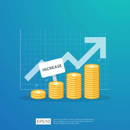 Finance performance of return on investment ROI concept with arrow. income salary rate increase. business profit growth margin revenue. cost sale icon. dollar symbol flat style vector illustration