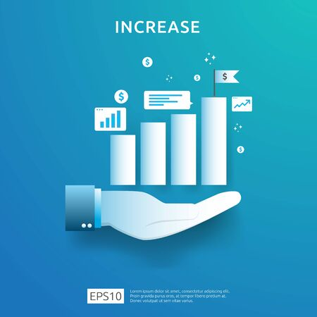 business chart on hand. income salary rate increase. graphic growth margin revenue. Finance performance of return on investment ROI concept with arrow element. flat style design vector illustration Çizim