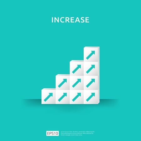 Growth business increase concept with stacking block. step stair ladder with arrow up vector illustration for success process, rise income salary rate, finance performance of return on investment ROI Çizim