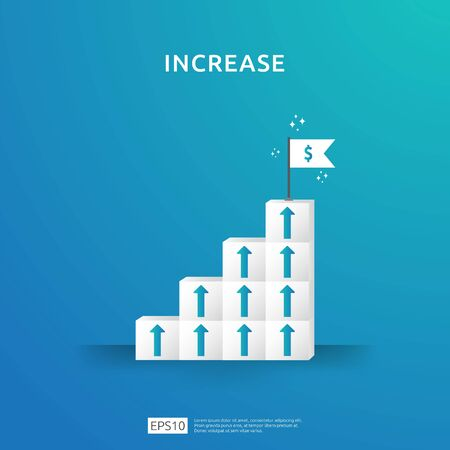 Growth business increase concept with stacking block. step stair ladder with arrow up vector illustration for success process, rise income salary rate, finance performance of return on investment ROI Illustration