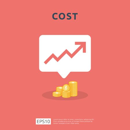 cost fee spending increase with arrow rising up growth diagram. business cash reduction concept. investment growth progress in flat design vector illustration.