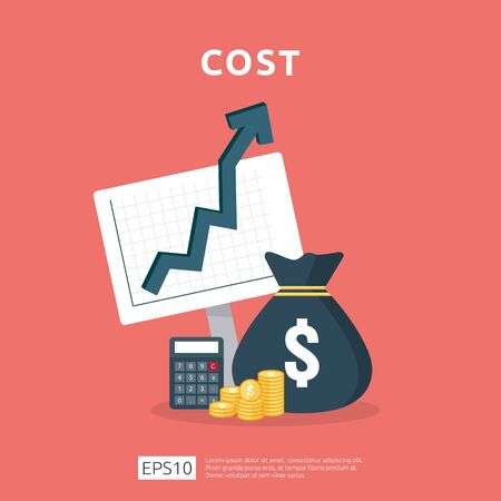 cost fee spending increase with arrow rising up growth diagram. business cash reduction concept. investment growth progress with calculator element in flat design vector illustration. Çizim
