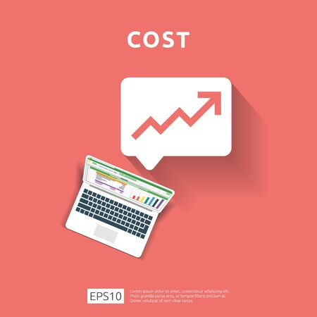 cost fee spending increase with arrow rising up growth diagram. business cash reduction concept. investment growth progress with computer and calculator element in flat design vector illustration. Çizim