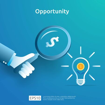 finance analytic and opportunity research concept with light bulb dollar and magnifying glass on hand. investor looking for innovation business idea. investment funding vision illustration Çizim