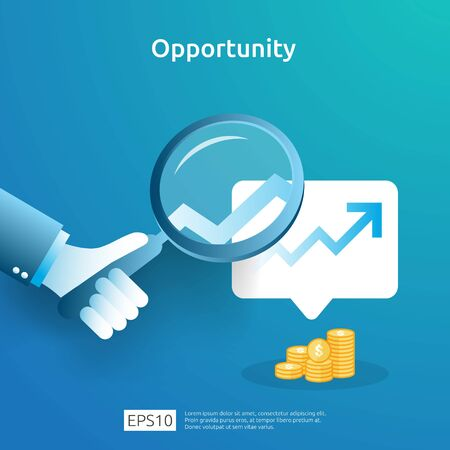 business idea analytic and opportunity research concept with increase growth graphic chart and magnifying glass on hand. Finance performance of return on investment ROI illustration with arrow element Ilustração Vetorial