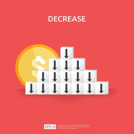 business crisis concept. money fall down with arrow decrease symbol on stacking block. economy stretching drop, global lost bankrupt. cost declining reduction or loss of income with pile dollar coins. Çizim
