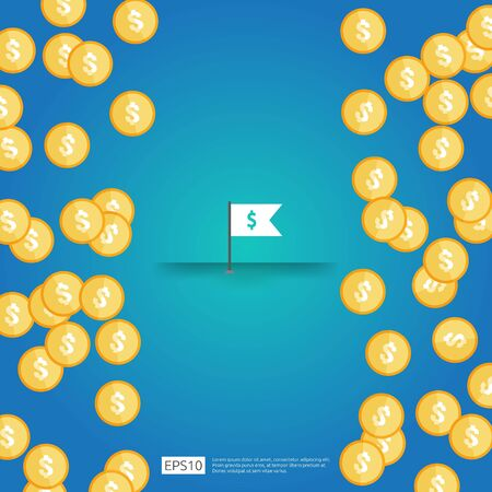 white flag with dollar symbol. yellow gold coins with dollar sign falling down. dropping golden money rain. Business success with blue background. Flat style vector illustration.