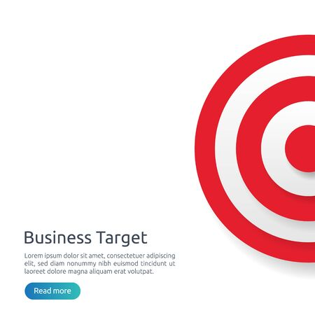 red dartboard center goal. strategy achievement and business success flat design. Archery dart target and arrow for banner or background. vector concept with graph and dollar icon illustration.