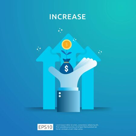 income salary rate increase. Finance performance of return on investment ROI concept with arrow. business profit growth margin revenue. cost sale icon. dollar symbol flat style vector illustration