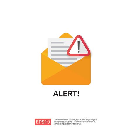 email envelope attention warning attacker alert sign with exclamation mark. internet danger concept. shield line icon for VPN. Technology cyber security protection vector illustration.