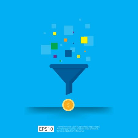 information data collection of filter concept with funnel, money, and graph object element. digital marketing analysis for business strategy concept. Flat Design Vector Illustration