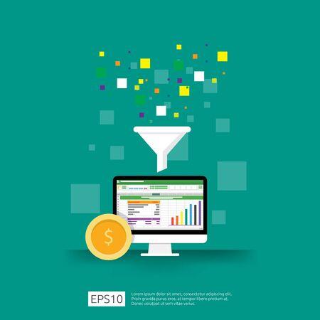 recopilación de datos de información del concepto de filtro con embudo, dinero y elemento de objeto gráfico. Análisis de marketing digital para el concepto de estrategia empresarial. Ilustración de Vector de diseño plano
