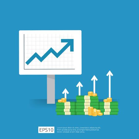 income salary rate increase. business profit growth margin revenue. Finance performance of return on investment ROI concept with arrow. cost sale icon. dollar symbol flat style vector illustration