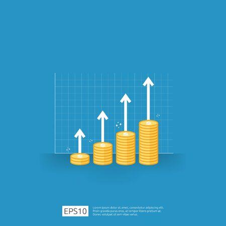 Gehaltserhöhung des Einkommens. Umsatzwachstum des Unternehmensgewinns. Finanzielle Leistung des Return-on-Investment-ROI-Konzepts mit Pfeil. Kosten Verkauf Symbol. Dollar-Symbol im flachen Stil-Vektor-illustration Vektorgrafik