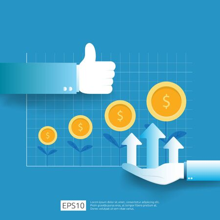 business profit growth revenue with thumb up gesture. income salary rate increase. Finance performance of return on investment ROI concept with arrow. dollar symbol flat style vector illustration