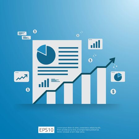 Financial Analysis business, financial statistic and management concept. Workplace desk top view with grow up chart bar document, laptop and report. Flat style vector illustration Ilustrace