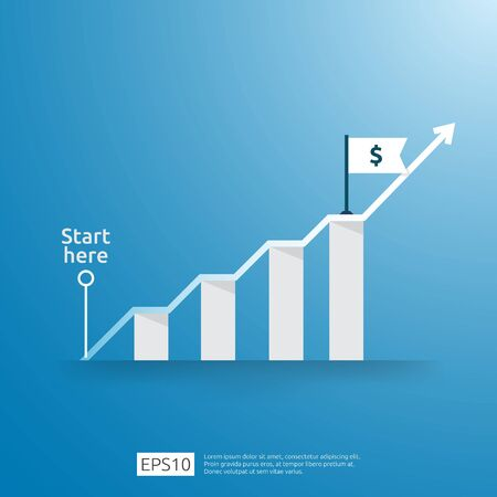 business growup chart bar with arrow direction. Finance growth vision stretching rising up. Return on investment ROI. increase profit margin revenue concept to success flat style vector illustration Ilustrace