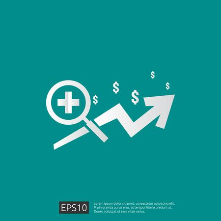 expensive health medicine cost concept. healthcare spending or expenses. Flat design vector illustration. Ilustrace