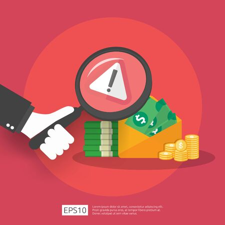 Anti Corruption, Stop and corrupt decline concept. Business bribe with money in an envelope and prohibition warning sign. vector illustration in flat style for banner, background, and presentation Ilustrace