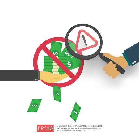 Anti Corruption, Stop and corrupt decline concept. Business bribe with money in an envelope and prohibition warning sign. vector illustration in flat style for banner, background, and presentation Illustration