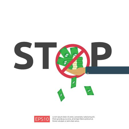 Anti Corruption, Stop and corrupt decline concept. Business bribe with money in an envelope and prohibition warning sign. vector illustration in flat style for banner, background, and presentation 일러스트