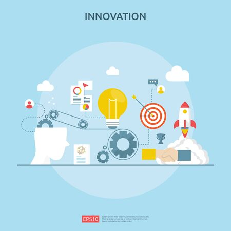 brainstorming innovation idea process and creative thinking concept with light bulb lamp for start up business project. illustration for web landing page, banner, presentation, social media, print. Ilustrace