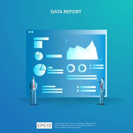 digital graph data for SEO analytics and strategic with character. statistics information, financial audit report document, marketing research for business management concept. vector illustration Ilustrace