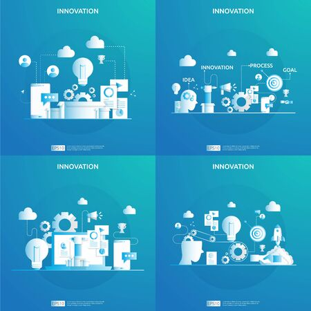brainstorming innovation idea process and creative thinking concept with light bulb lamp for start up business project. illustration for web landing page, banner, presentation, social media, print