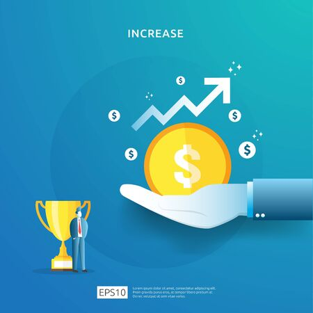 income salary rate increase concept illustration with people character and arrow. Finance performance of return on investment ROI. business profit growth, sale grow margin revenue with dollar symbol