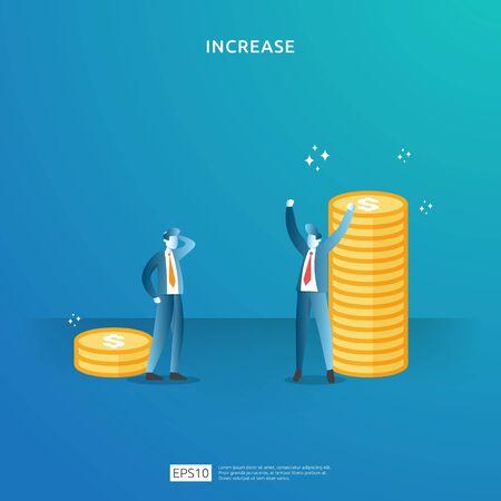 Einkommen Gehaltserhöhung Konzept Illustration mit Menschen Charakter und Pfeil. Finanzielle Performance des Return on Investment ROI. Unternehmensgewinnwachstum, Verkauf Margengewinn mit Dollarsymbol