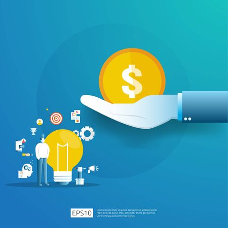smart investment on technology startup. angel investor business analytic. opportunity idea research concept with lamp light bulb and businessman character element. Vector illustration Ilustração