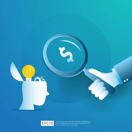 smart investment on technology startup. angel investor business analytic. opportunity idea research concept with lamp light bulb and businessman character element. Vector illustration Ilustrace