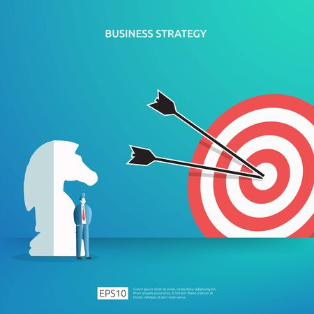 Business concept for goal achievement, vision plan, and management. successful investment income profit strategy management with chess, character figure and dartboard target illustration Ilustrace
