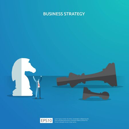 Business concept for competition strategy. winning success planning illustration with chess figure and businessman character. Victory in leadership battle fighting in flat style vector