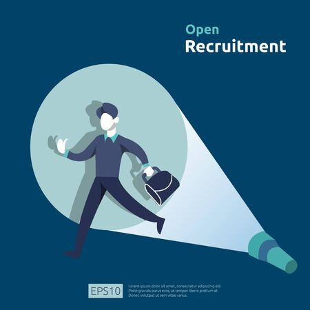 online recruitment and Job hiring concept with people character. agency interview select a resume process for social media template, web landing page, banner, presentation. Vector illustration. Ilustrace