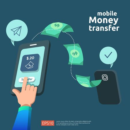 money transfer concept for E-commerce market or shopping online with people character. mobile payment illustration for social media, web landing page template, banner, presentation, print media.