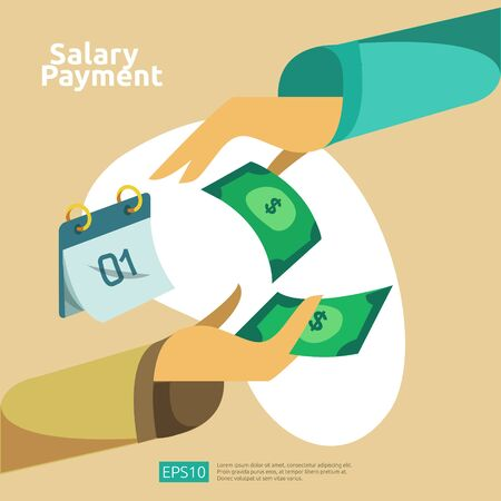 salary payment and payroll illustration concept for annual bonus, income, payout with people character. flat vector for web landing page template, banner, presentation, social, and print media.