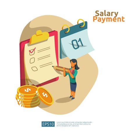 Gehaltszahlung und Gehaltsabrechnungsillustrationskonzept für Jahresbonus, Einkommen, Auszahlung mit Personencharakter. flacher Vektor für Web-Landing-Page-Vorlage, Banner, Präsentation, soziale und Printmedien.