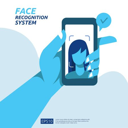 Face recognition system scanning on smartphone. facial biometric data identification security. web landing page template, banner, presentation, social, poster, ad, promotion or print media. Ilustrace