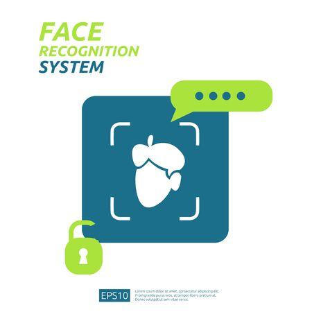Scannen des Gesichtserkennungssystems auf dem Smartphone. Sicherheit bei der Identifizierung biometrischer Gesichtsdaten. Web-Landing-Page-Vorlage, Banner, Präsentation, Social, Poster, Anzeige, Promotion oder Printmedien.