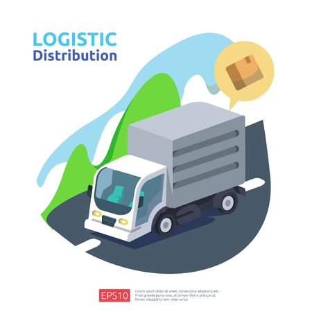 logistic distribution cargo service concept. global delivery worldwide import export shipping banner for web landing page, presentation, social, poster or print media illustration Ilustrace