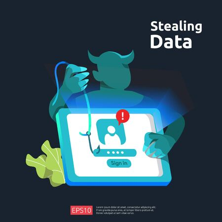 password phishing attack. stealing personal data. internet security concept for web landing page, banner, presentation, social, and print media template. Vector illustration