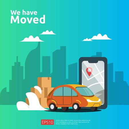 we have moved vector illustration concept. new location announcement business store, home or change office address for landing page template, mobile app, poster, banner, flyer, ui, web, and background