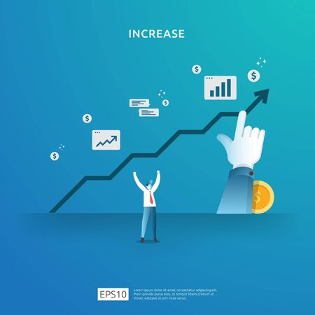 income salary rate increase concept illustration with people character and arrow. business profit growth, sale grow margin revenue with dollar symbol. Finance performance of return on investment ROI Vectores