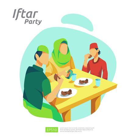 Moslem family dinner on Ramadan Kareem or celebrating Eid with people character. Iftar Eating After Fasting feast party concept. web landing page template, banner, presentation, social or print media